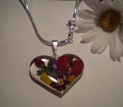 Silverhalsband - Blandade blommor