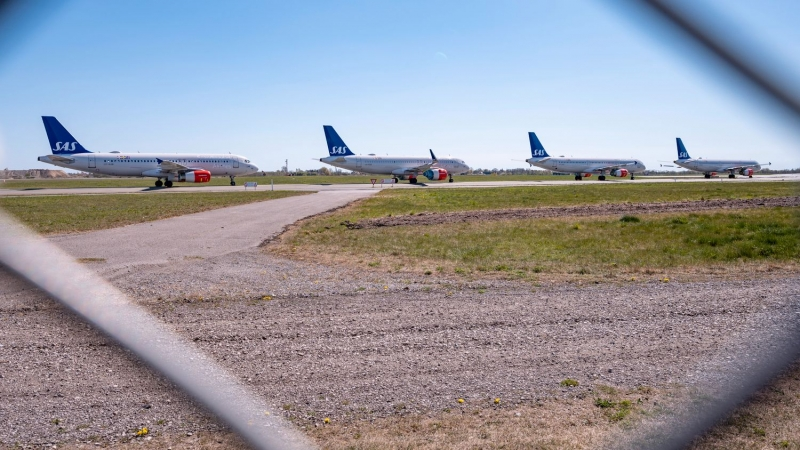 Long rows of SAS planes at Kastrup Airport in Copenhagen