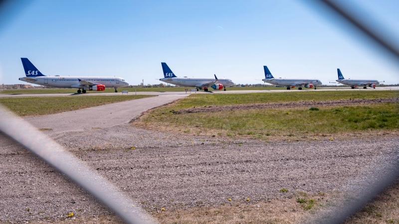 Long rows of SAS planes at Kastrup Airport in Copenhagen