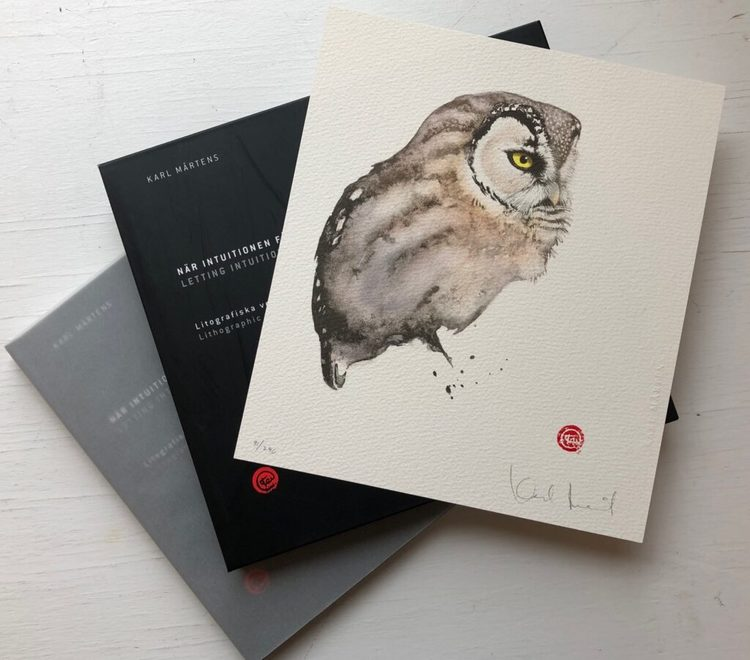 Bibliofil, bok + litografi Pärluggla