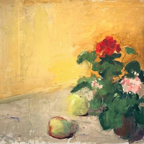 Uppställning m Pelargonia o Äppel
