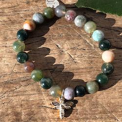 Armband med gröna agater, silverbi