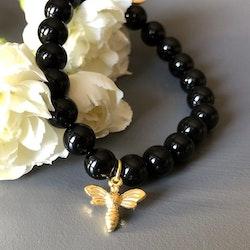 Armband med svarta agater, guldbi