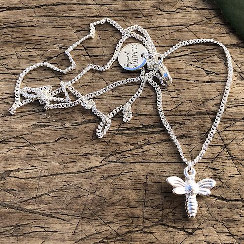 Halsband med bi, silver