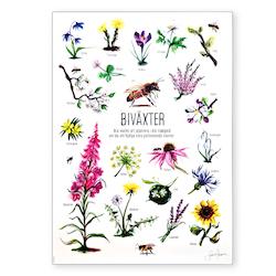 Affisch med biväxter