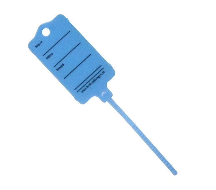 Keytag i Blå Plast, förtryckta, 200 st