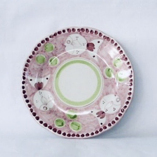 Amalfi djup tallrik, rosa med djurmönster, 23 cm