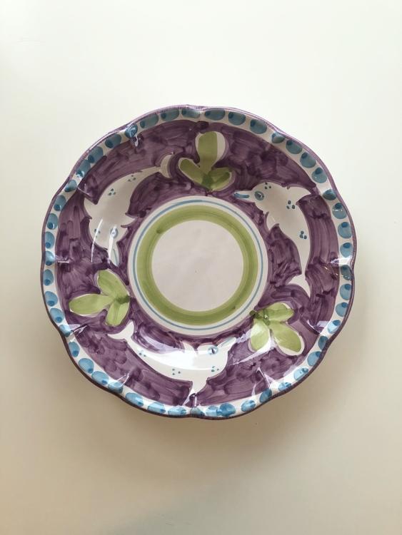 Assiett, lila med djurmönster, 21 cm