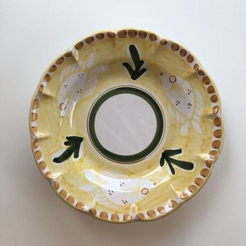 Djup tallrik, gul med djurmönster, 25 cm