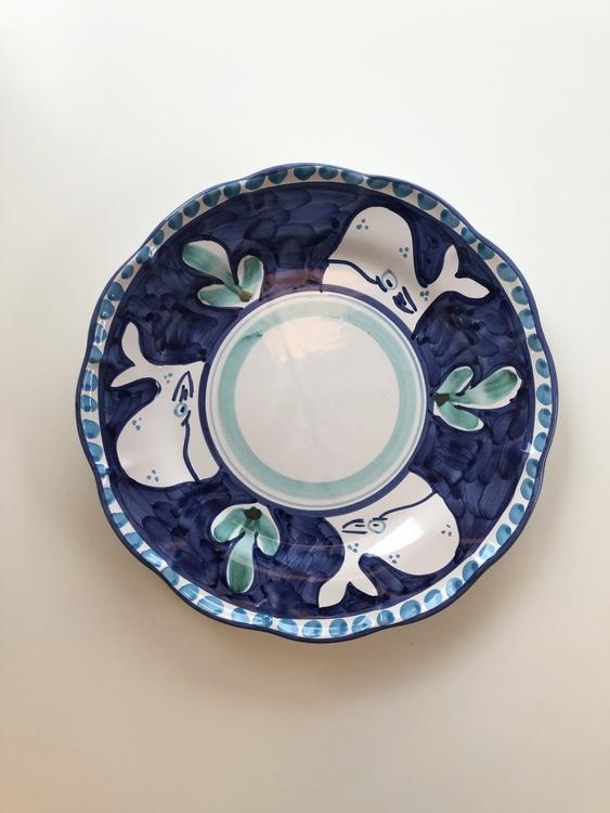 Djup tallrik, mörkblå med djurmönster, 25 cm