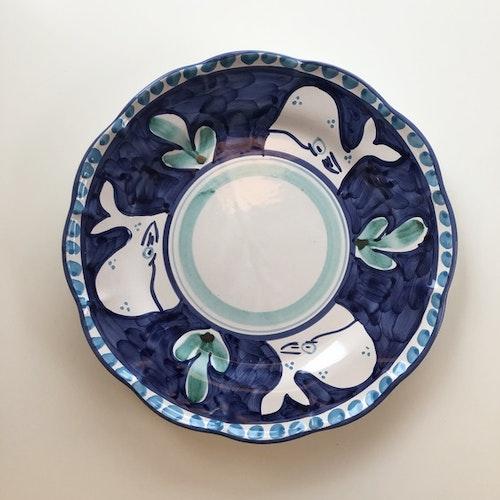Tallrik, mörkblå med djurmönster, 26 cm