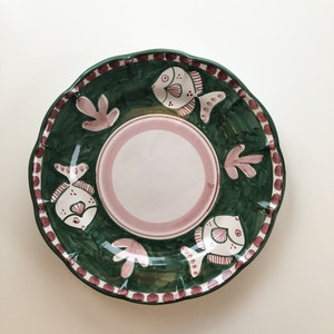 Tallrik, grön med djurmönster, 26 cm
