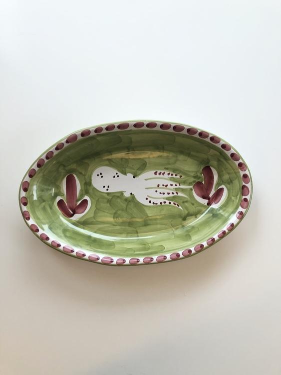 Uppläggningsfat, grönt med fiskmönster, 26 cm