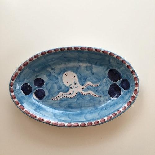 Uppläggningsfat, turkos med fiskmönster, 26 cm