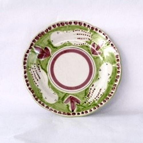 Tallrik, ljusgrön med djurmönster, 26 cm
