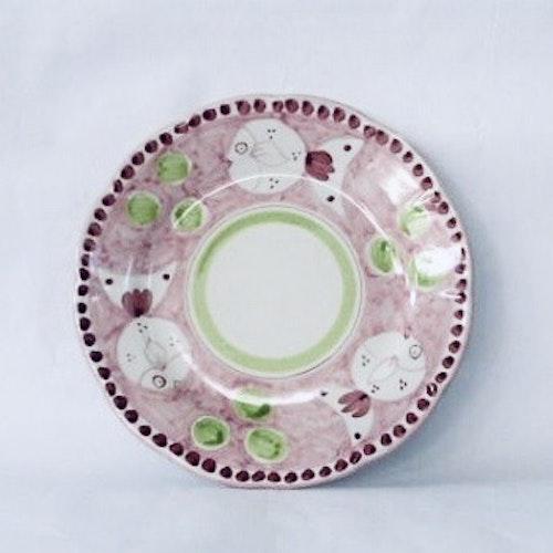 Tallrik, rosa med djurmönster, 26 cm