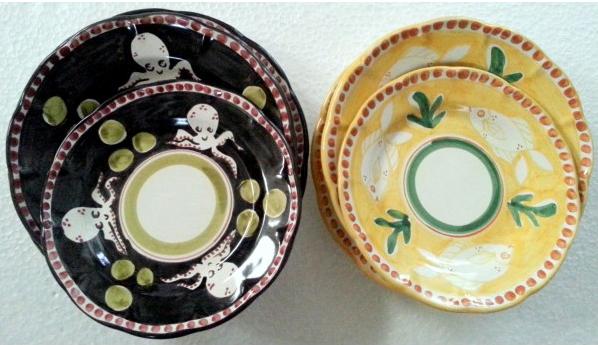 Tallriksset 6 delar i 2 färger -  assiett, djup tallrik, mattallrik, svart och gul
