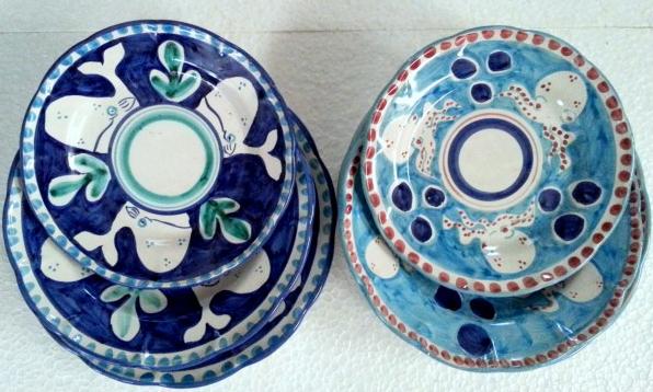 Tallriksset 6 delar i 2 färger -  assiett, djup tallrik, mattallrik, blå och turkos