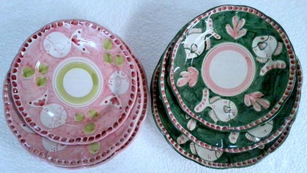 Tallriksset 6 delar i 2 färger -  assiett, djup tallrik, mattallrik, rosa och grön