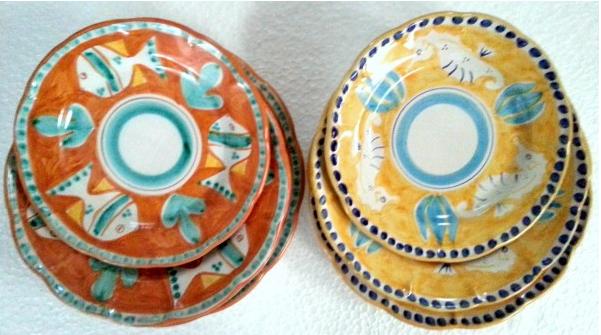 Amalfi tallriksset 6 delar i 2 färger -  assiett, djup tallrik, mattallrik, orange och gul
