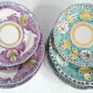 Tallriksset 6 delar i 2 färger -  assiett, djup tallrik, mattallrik, lila och grönblå