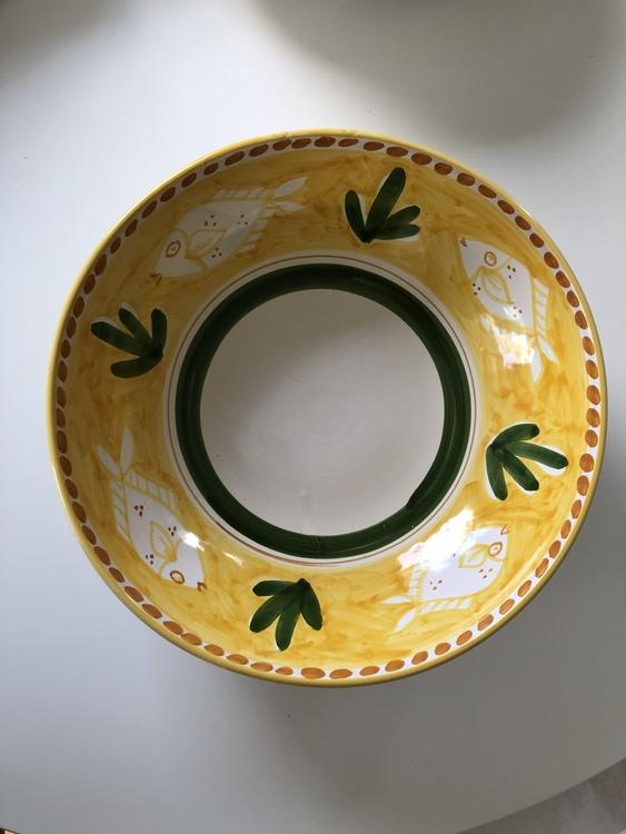 Stor salladskål, 30 cm med gul botten och fiskmönster