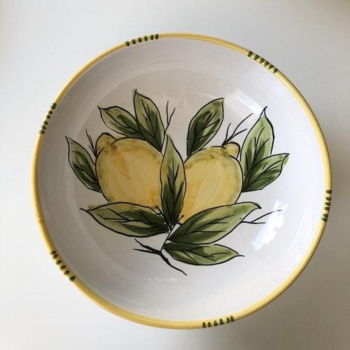Djup uppläggningsskål med citronmönster, 23 cm