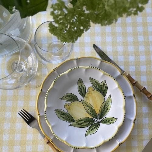 Limone Bianco assiett med citronmönster, 21 cm