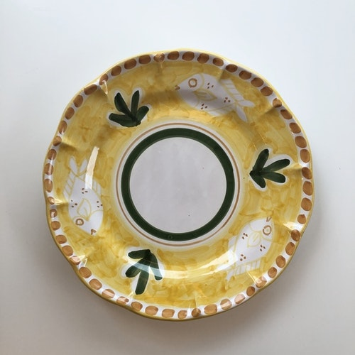 Amalfi djup tallrik, gul med djurmönster, 23 cm