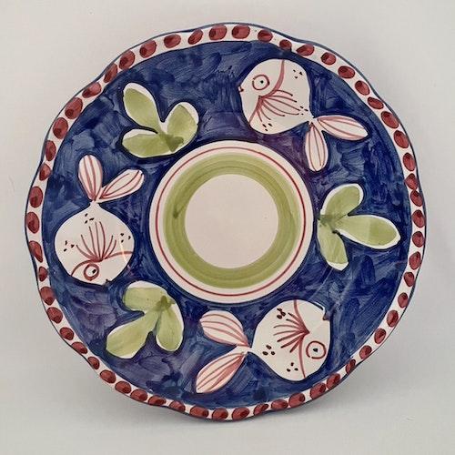 Assiett, blå med djurmönster, 21 cm