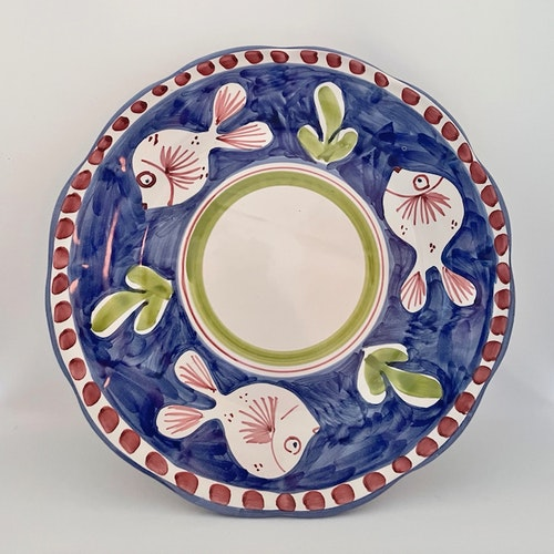 Amalfi djup tallrik, blå med djurmönster, 23 cm