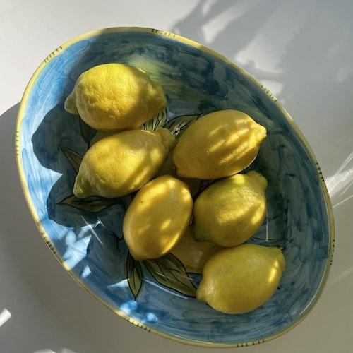 Limone Bianco, uppläggningsfat med citronmönster på turkos botten, 37 cm