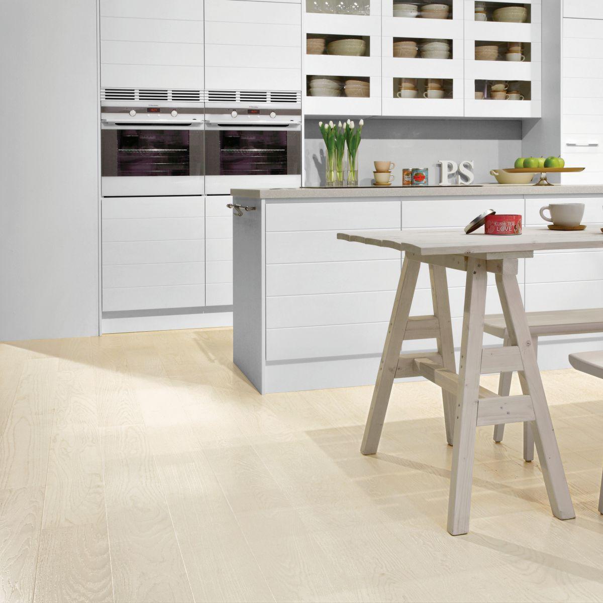Tarkett Shade Ask Pearl White Plank Br 1-Stav - Lack - Parkettgolv - 2200 MM - 14 MM