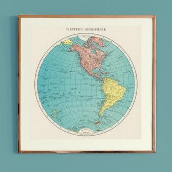 Karta – Västra hemisfären – 1908