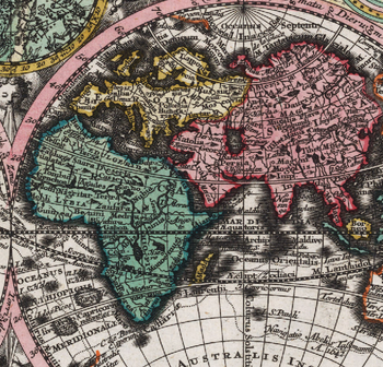 Världskarta – Planisphaerium coeleste. A.C. Seutter delin – 1744