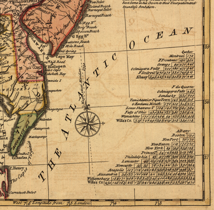 """A general map of the middle British colonies in America"" – 1771"