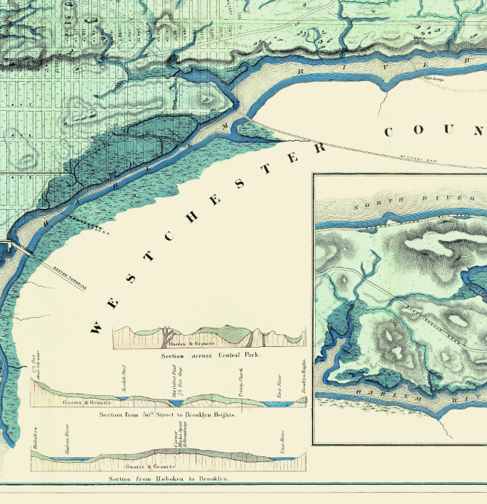 """Sanitary & Topographical Map of the City and Island of New York, """"Viele Map"""" – 1865"""