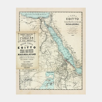 Karta – Egypen, Sudan, Röda havet, Somalia m.m. – 1887