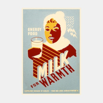 Reklamskylt – Milk For Warmth – 1941