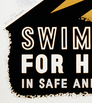 Reklamskylt – Swim for health – 1940