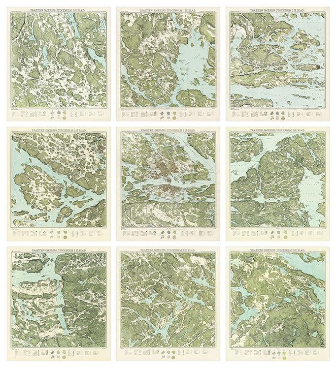 Trakten runt Stockholm, 9 st kartor – 1861