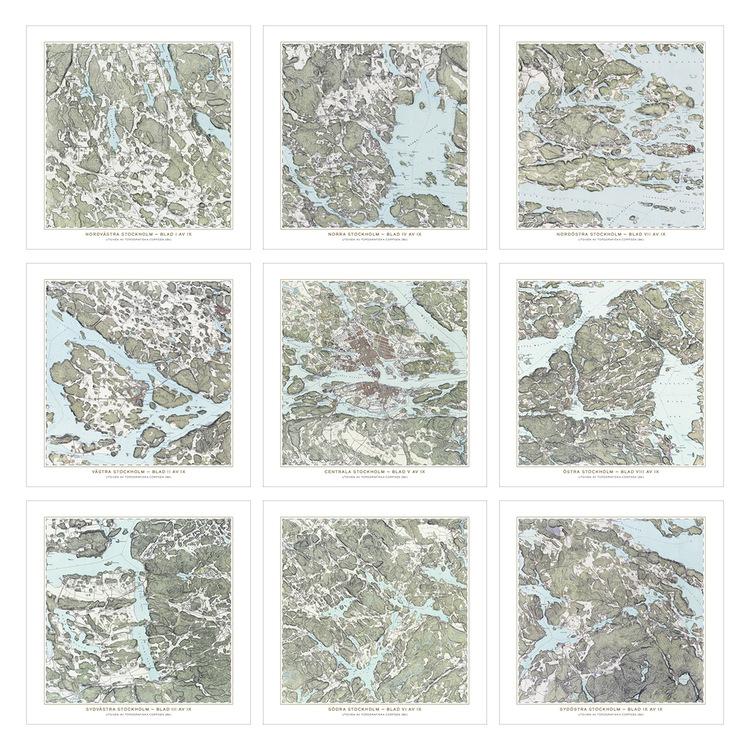 Trakten runt Stockholm, 9 st kartor – 1861 – Spoil Art-variant