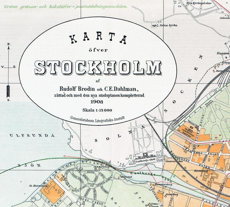 Karta – Centrala Stockholm – 1908