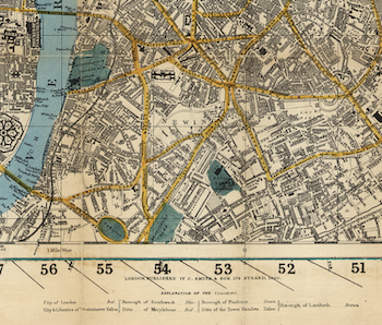 Karta – Smith's New Map of London – 1860