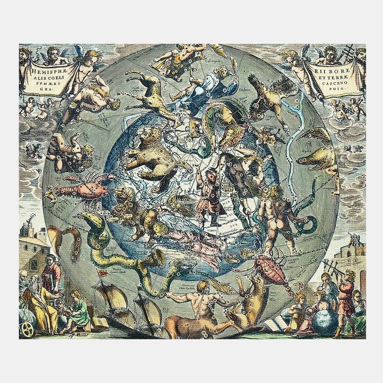 Johannes Janssonius – Hemisphari graphicun coeli y alis coeli – 1661
