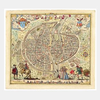 Karta/bild – Paris – 1576