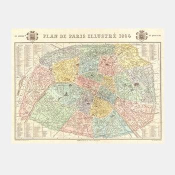 Karta – Paris – 1864