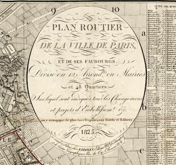 "Karta – ""Plan Routier, Paris"" – 1823"