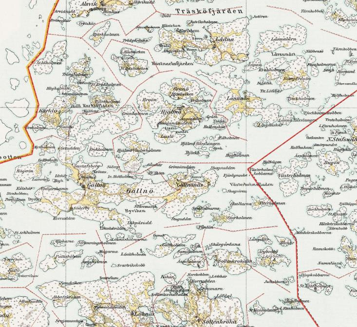 Karta – Värmdö Skeppslag – mellersta – 1907