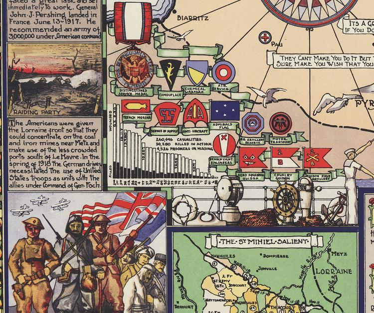 Karta – Amerikas krig i Europa – 1932